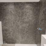 Schieferfurnier Wandverkleidung grau anthrazit Steinwand Wandgestaltung Steinfurnier Duschrückwand