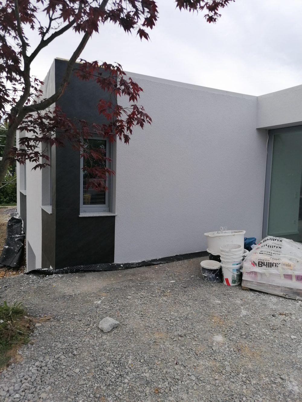 Schieferfurnier Wandverkleidung grau anthrazit Steinwand Wandgestaltung Steinfurnier Hausfassade