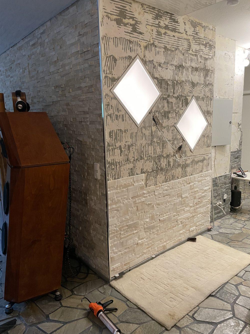 Steinfurnier Wandverkleidung Wandverblender transluzent lichtdurchkässige Steinwand Schiefer Basalt Marmor Steinplatten